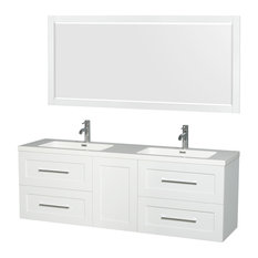 "Olivia 72"" Double Vanity 70"" Mirror Acrylic-Resin, Integrated Sink Glossy White"