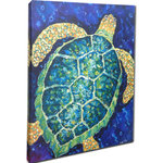"My Island - Sea Turtle Canvas Art, 16x20"" - Sea Turtle Giclee is gallery wrapped canvas art. It is mounted on a 1"" Frame and is in Shades Of Blue, Aqua, Yellow, Green, And More. Reproduction Of Original By My Island Artist, Gerri Hyman."