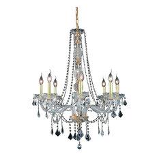 Verona 8-Light Chandelier, Gold, Elegant Cut Clear Crystals