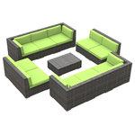 Urban Furnishing - Bermuda Outdoor Patio Furniture Sofa Sectional, 11-Piece Set, Lime Green - - Designer Gray Wicker Pattern