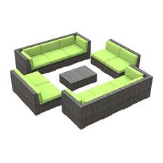 Bermuda Outdoor Patio Furniture Sofa Sectional, 11-Piece Set, Lime Green