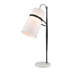 Banded Shade 1 Light Desk Lamp in Antique Brass And White Marble