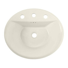 American Standard Tropic 0405.008Ec Drop In Porcelain Bathroom Sink, Linen