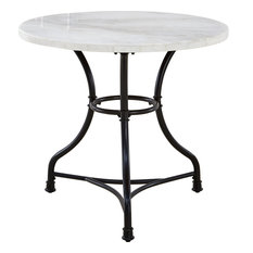 Claire Round Cafe Table - White Marble Top Black Metal Base