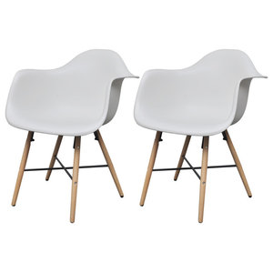 vidaXL Dining Chairs With Armrests and Beech Wood Legs, White, Set of 2