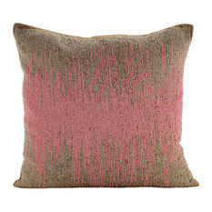 Beaded Ombre Pink Cushion Covers, Art Silk Pillow Covers 16x16, Pink Phenomena