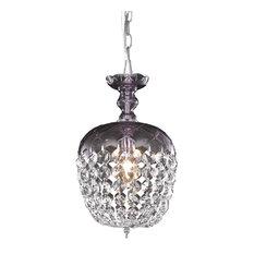1-Light Purple Pendant Clear Crystal