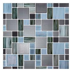 "Multi Square Peel & Stick Wall Tiles, 10x10"", Dark Blue, 6 Pieces"