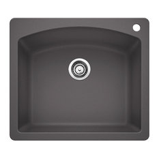 "Blanco 441463 22""x25"" Granite Single Dual-Mount Kitchen Sink, Cinder"
