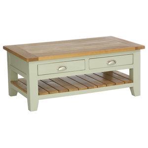 2-Drawer Rectangular Coffee Table, French Grey