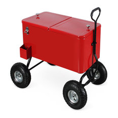 80 Qt Outdoor Party Cooler Wagon Ice Chest, Red