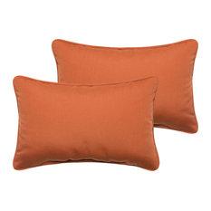 Corrigan Sunbrella Outdoor Lumbar Pillow, Set of 2, Rust, 20x13