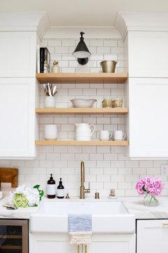 White Or Walnut Open Shelves Above My Kitchen Sink