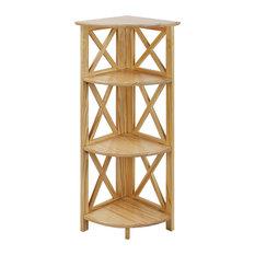 Montego 3-Shelf Corner Folding Bookcase With Mantel Top, Natural