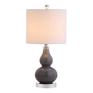 "Anya 20.5"" Mini Glass Table Lamp, Gray"