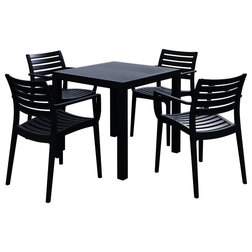 Transitional Outdoor Dining Sets Artemis Resin Square Dining Set With 4 Arm Chairs, Black