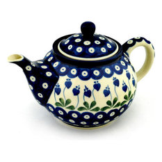 Polish Pottery 30 oz. Stoneware Tea or Coffee Pot Hand-Decorated Design