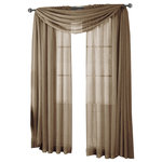 """Royal Tradition - Abri Single Rod Pocket Sheer Curtain Panel, Mocha, 50""""x63"""" - Want your privacy but need sunlight? These crushed sheer panels can keep nosy neighbors from looking inside your rooms, while the sunlight shines through gracefully. Add an elusive touch of color to any room with these lovely panels and scarves. Sheers enhance the beauty of windows without covering them up, and dress up the windows without weighting them down. And this crushed sheer curtain in its many different colors brings full-length focus to your windows with an easy-on-the-eye color. These rod pocket crushed sheer panels are versatile enough to go from simple to elegant easily. The Abripedic Crushed Sheer Curtain panels are soft to the touch and adds a breezy relaxed look to any sort of d̩cor. This beautiful, solid-colored sheer curtain lets light gently filter through. Clean, simple one-pocket pole top design can be used with a standard or decorative curtain rod."""