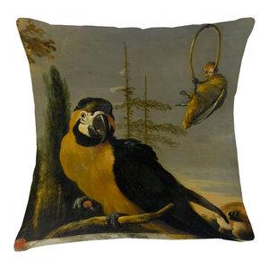 Velvet Tableau Cushion, Macaw