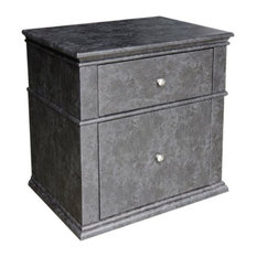 Leather Upholstered Wooden Nightstand With Two Drawers Grey