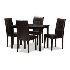 Avery Modern Dark Brown Faux Leather Upholstered 5-Piece Dining Set