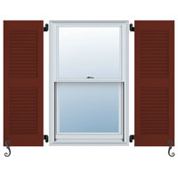 Center Mullion, Louver Colonial Shutters, Set of 2, Roycraft Copper Red