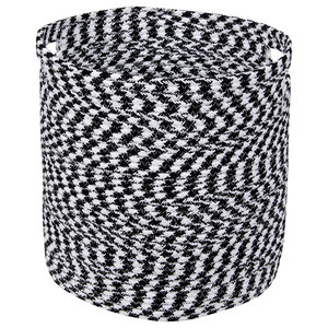 Handwoven Cotton Basket, Black and White