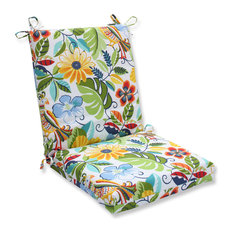 Pillow Perfect Inc   Lensing Garden Squared Corners Chair Cushion, White    Outdoor Cushions And