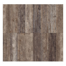 "Rustic Wood Look Porcelain Tile, 5""x40"", Set of 6, Noce"