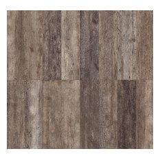 "Rustic Wood Look Porcelain Tile, 5""x40"", Set of 6, Noce"