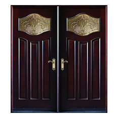 "Exterior Front Entry Double Wood Door MP-DM80 30""x80""x2, Right Hand Swing In"
