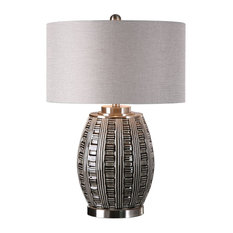 Ribbed Embossed Lattice Table Lamp, Silver Gray Black Round Shape