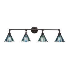 Vintage 4-Light Bath Bar Dark Granite Sea Ice Tiffany Glass