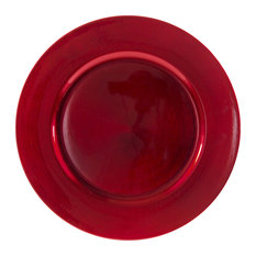 Lacquer Round Charger Plates, Set of 6, Red
