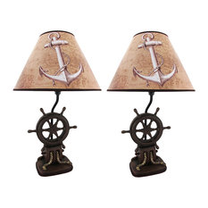 Set of 2 Nautical Ship`s Wheel Table Lamps 19 Inch
