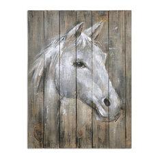 Rustic Reclaimed Wood Horse Wall Art