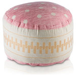 Pyar & Co - Nondi Pink Pouf - A delightfully sweet Macaroon-like pouf features pops of playful polka-dots.