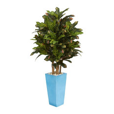 Artificial Plant, 4 Foot Croton with Turquoise Planter Silk Plant