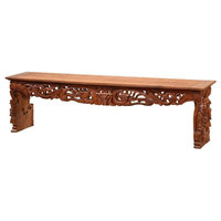 "71""L Ceries Bench Hand Carved One of a Kind Solid Teak Wood Hand Crafted Wood"