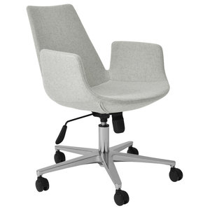 Eiffel Arm Office Chair, Chrome Plated Solid Steel Base, Silver Camira Wool