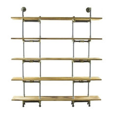 Eugene Modern Industrial BookcaseBrass & Gray Metals With Natural Wood