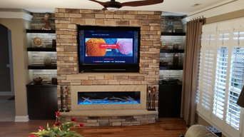 "LED 60"" GAS FIREPLACE AND SONOS SYSTEM, WITHE CABINETS AND BOOK SHELVES"