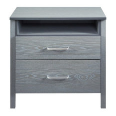Nightstand With 2 Drawer And Shelf Gray