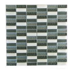 "Miseno Earth Glass Visual Wall Tile Sheet, Chip Size: 5/8""x2"", Dark Gray"