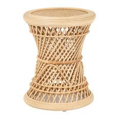 Coron Rattan Stool, Side Table/Planter Stand, Natural