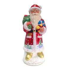 Schaller Paper Mache Candy Container, Santa Red Coat In 50's Style