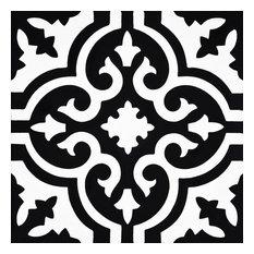 """8""""x8"""" Argana Handmade Cement Tile, Black/White, Set of 12"""