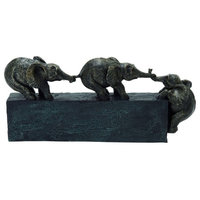 Black Eclectic Polystone Sculpture, Elephant 8 x 17 x 4 Inches