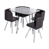 Argos Home Elsie Glass Dining Table and 4 Chairs - Black