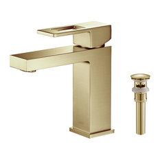 Cubic Single Hole Bathroom Faucet KBF1002, Brush Gold, W/ Drain
